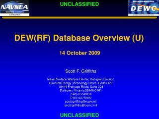 DEW(RF) Database Overview (U) 14 October 2009