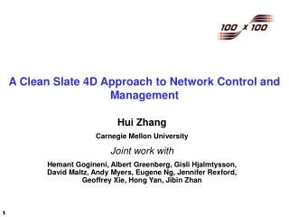 A Clean Slate 4D Approach to Network Control and Management