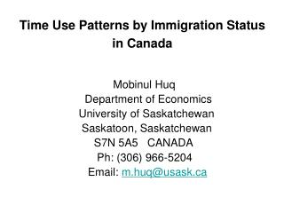 Time Use Patterns by Immigration Status in Canada