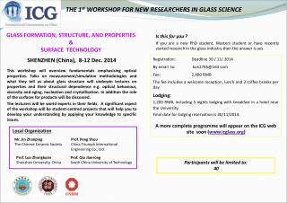 THE 1 st  WORKSHOP FOR NEW RESEARCHERS IN GLASS SCIENCE