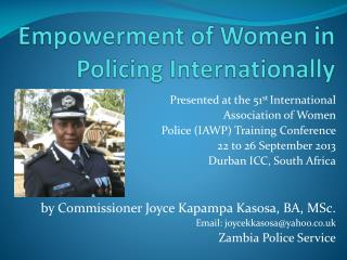 Empowerment of Women in Policing Internationally