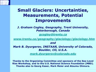 Small Glaciers: Uncertainties, Measurements, Potential Improvements