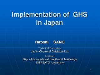 Implementation of  GHS  in Japan