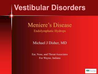 Vestibular Disorders