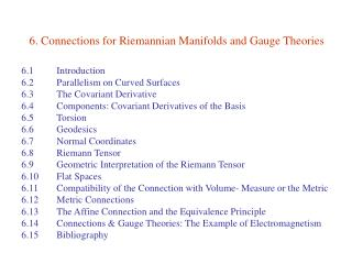 6. Connections for Riemannian Manifolds and Gauge Theories