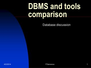 DBMS and tools comparison