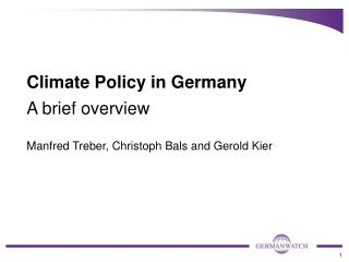 Climate Policy in Germany