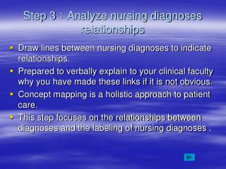 Step 3 : Analyze nursing diagnoses relationships