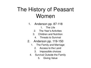 The History of Peasant Women
