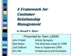 A Framework for Customer Relationship Management by Russell S. Winer
