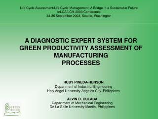 A DIAGNOSTIC EXPERT SYSTEM FOR GREEN PRODUCTIVITY ASSESSMENT OF MANUFACTURING PROCESSES