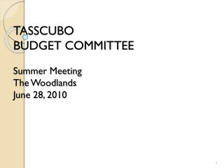 TASSCUBO BUDGET COMMITTEE Summer Meeting The Woodlands June 28, 2010
