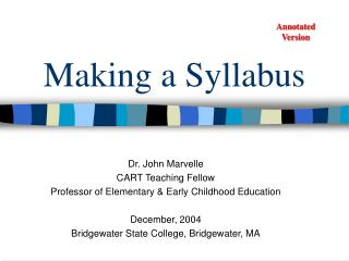 Making a Syllabus
