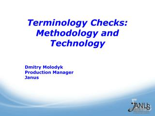 Terminology Checks: Methodology and Technology
