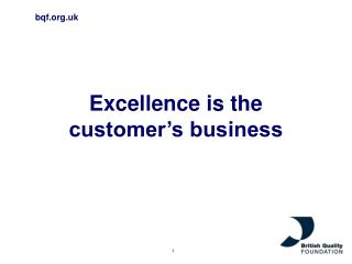 Excellence is the customer's business