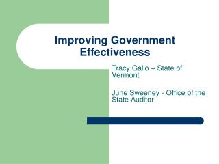 Improving Government Effectiveness
