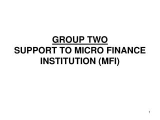 GROUP TWO SUPPORT TO MICRO FINANCE INSTITUTION (MFI)