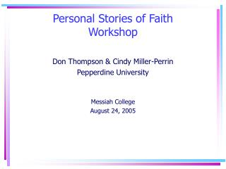 Personal Stories of Faith Workshop