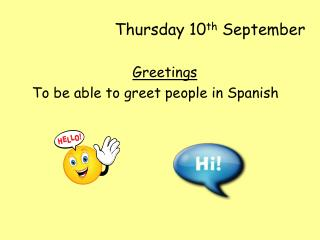 Thursday 10 th  September