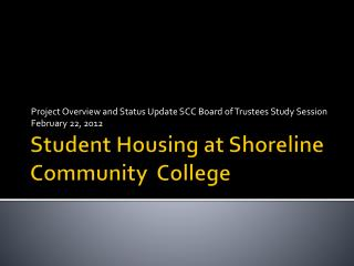 Student Housing at Shoreline Community  College