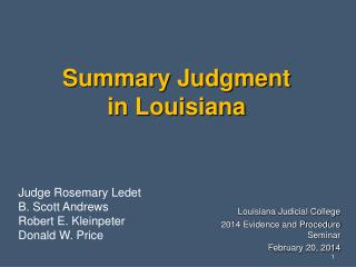 Summary Judgment  in Louisiana