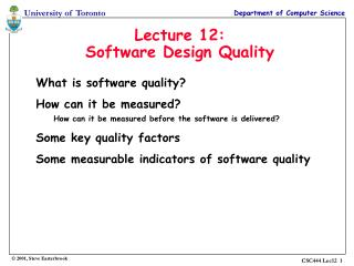 Lecture 12: Software Design Quality