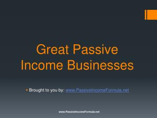 Great Passive Income Businesses
