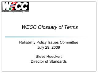 WECC Glossary of Terms