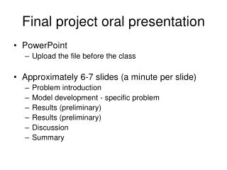 Final project oral presentation