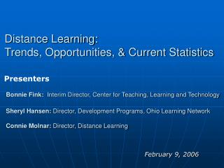 Distance Learning:  Trends, Opportunities, & Current Statistics