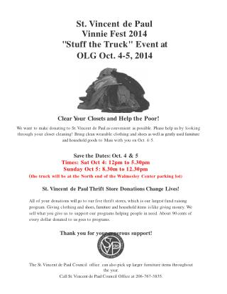 "St. Vincent de Paul Vinnie Fest 2014 "" Stuff the Truck ""  Event at OLG  Oct .  4-5 , 20 1 4"