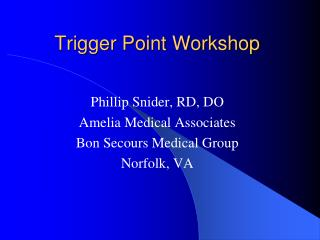 Trigger Point Workshop