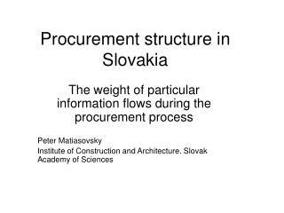 Procurement structure in Slovakia