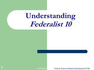 Understanding Federalist 10