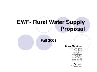EWF- Rural Water Supply Proposal