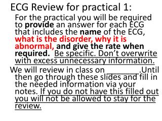 ECG Review for practical 1: