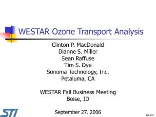 WESTAR Ozone Transport Analysis