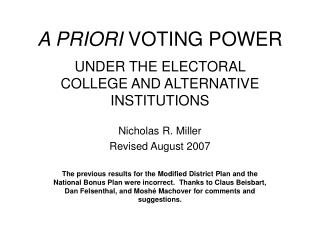 A PRIORI  VOTING POWER