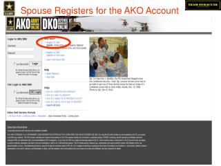 Spouse Registers for the AKO Account