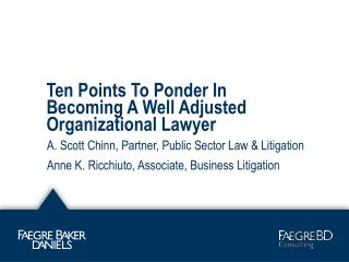 Ten Points To Ponder In Becoming A Well Adjusted Organizational Lawyer