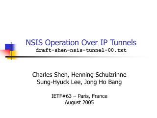 NSIS Operation Over IP Tunnels draft-shen-nsis-tunnel-00.txt