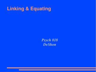 Linking & Equating
