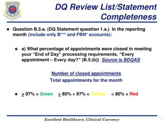 DQ Review List/Statement Completeness