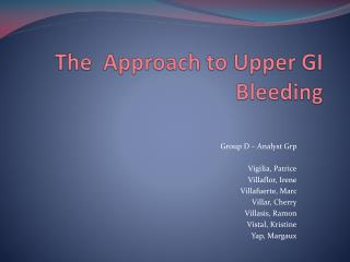 The  Approach to Upper GI Bleeding