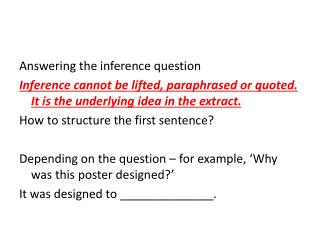 Answering  the inference question