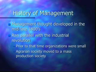 a brief history of management
