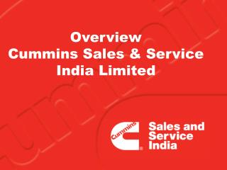 Overview   Cummins Sales & Service India Limited