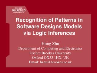Recognition of Patterns in Software Designs Models via Logic Inferences