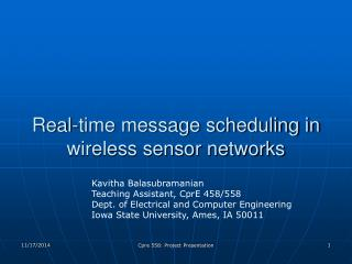 Real-time message scheduling in wireless sensor networks
