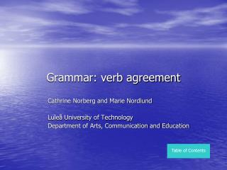 Grammar: verb agreement
